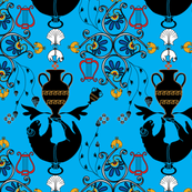 Greek Myth Blue BT Smaller Pattern