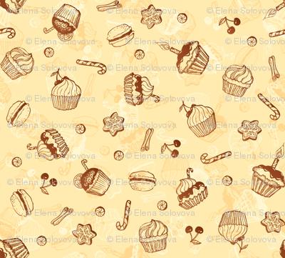 Chocolate sweets hand-drawn pattern