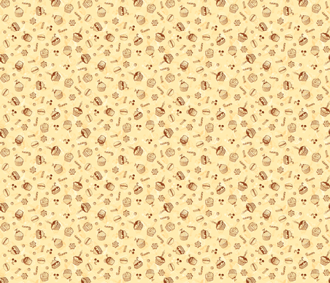 Chocolate sweets hand-drawn pattern fabric by art_of_sun on Spoonflower - custom fabric