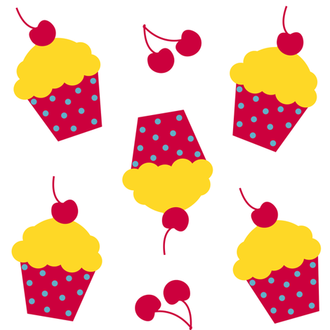 Lemon Cherry Cupcakes! - Sweet Birds of Summer - Summer Party - © PinkSodaPop 4ComputerHeaven.com fabric by pinksodapop on Spoonflower - custom fabric
