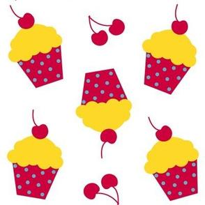 Lemon Cherry Cupcakes! - Sweet Birds of Summer - Summer Party - © PinkSodaPop 4ComputerHeaven.com
