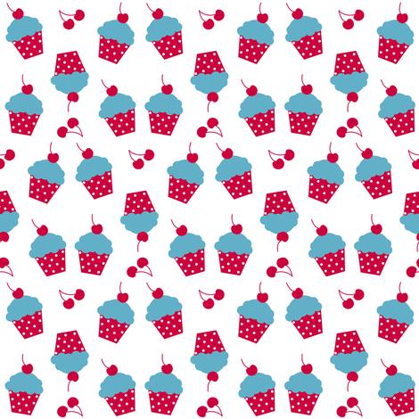 Cherry Raspberry Cupcakes! - Sweet Birds of Summer - Summer Party - © PinkSodaPop 4ComputerHeaven.com fabric by pinksodapop on Spoonflower - custom fabric