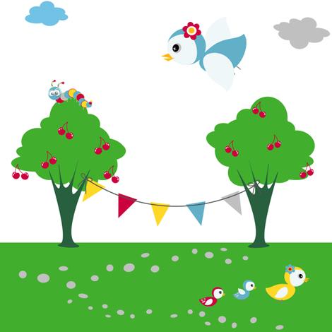 Summer Park Party! - Sweet Birds of Summer - Summer Party! - © PinkSodaPop 4ComputerHeaven.com fabric by pinksodapop on Spoonflower - custom fabric