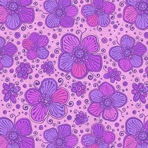 Violet ornate flowers pattern