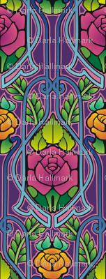 Art Nouveau roses, purple