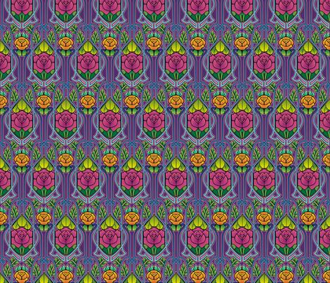 Art Nouveau roses, purple fabric by hannafate on Spoonflower - custom fabric
