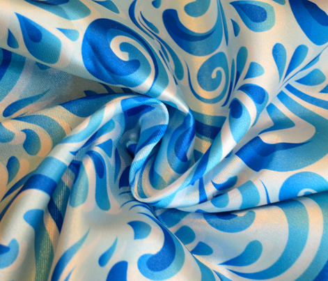 Blue curls pattern in traditional Russian style