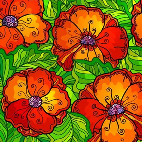 Red poppy flowers seamless pattern