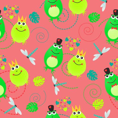 frog pattern fabric by kuziki on Spoonflower - custom fabric