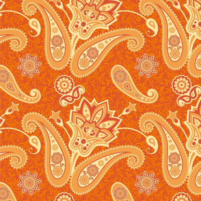 Flowers and paisley in_orange