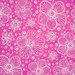 Pink ornate flowers pattern