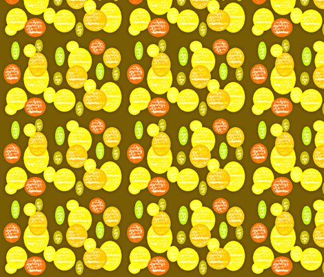 Citrus on brown fabric by winterblossom on Spoonflower - custom fabric