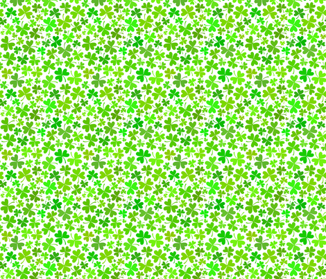 Green clovers on white background fabric by art_of_sun on Spoonflower - custom fabric