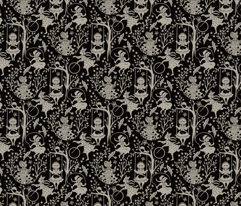 country girls black fabric by gaiamarfurt on Spoonflower - custom fabric