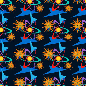 Space Age Retro Multicolored on Navy