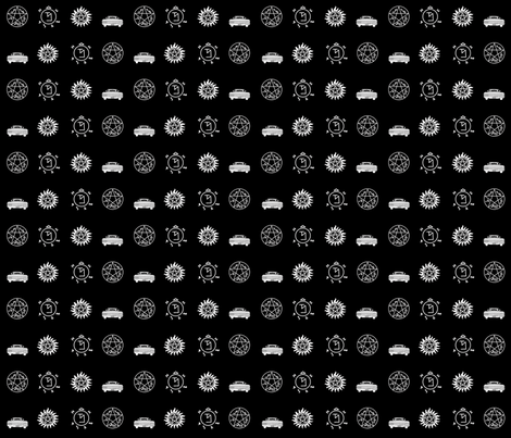 Supernatural White on Black fabric by dame_c on Spoonflower - custom fabric