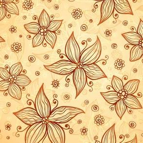 Vintage beige flowers pattern