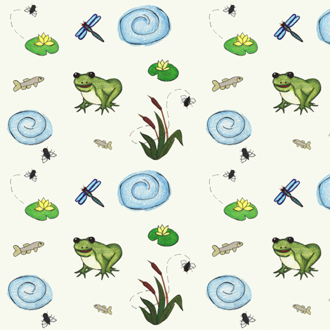Froggy pond fabric by whistleandsmirk on Spoonflower - custom fabric