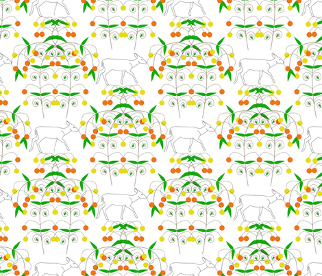 deer_in_the_orchard fabric by suziwollman on Spoonflower - custom fabric