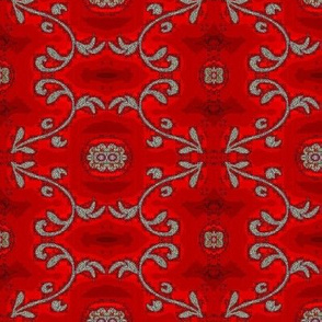 red and gray batik flower motif