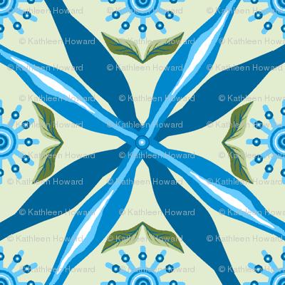 bowtie_grid_single_pinwheel_D_flowers_leaves_green