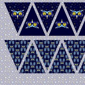 Midnight Owl. Bright eyes in blue bunting.
