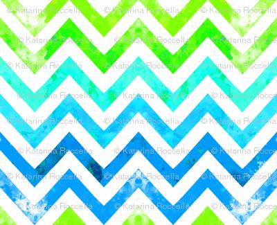 watercolor chevron blues greens
