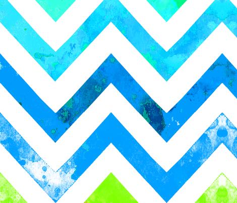 watercolor chevron blues greens fabric by katarina on Spoonflower - custom fabric