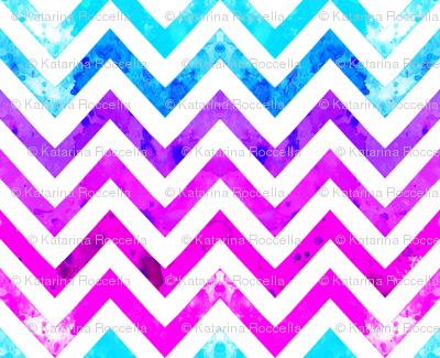 watercolor chevron blues pinks