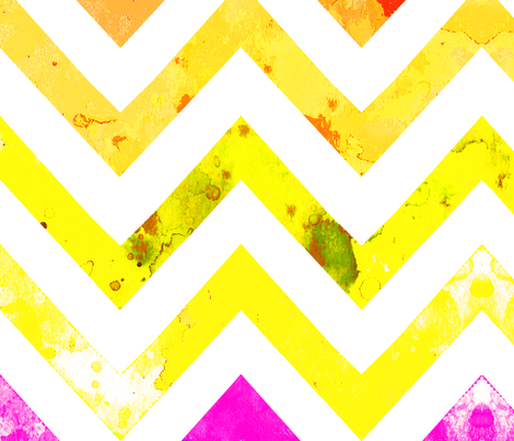 watercolor chevron rainbow yellow pinks fabric by katarina on Spoonflower - custom fabric
