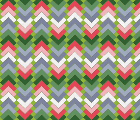 chevron squares geraniums on the terrace fabric by glimmericks on Spoonflower - custom fabric