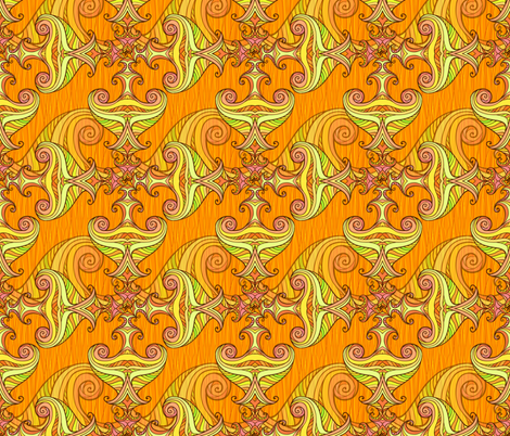 Orange waves pattern fabric by art_of_sun on Spoonflower - custom fabric