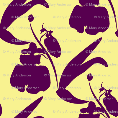 Orchids Silhouette - Purple on Yellow fabric - anderson ...