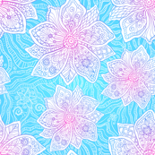 Blue and pink lacy flowers