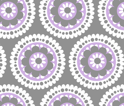large lacey floral medallion lavender fabric by juneblossom on Spoonflower - custom fabric