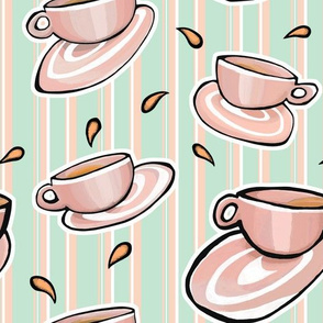 Cups Medley red on Green Orange White Stripes