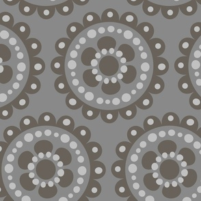 large flower medallion tonal gray