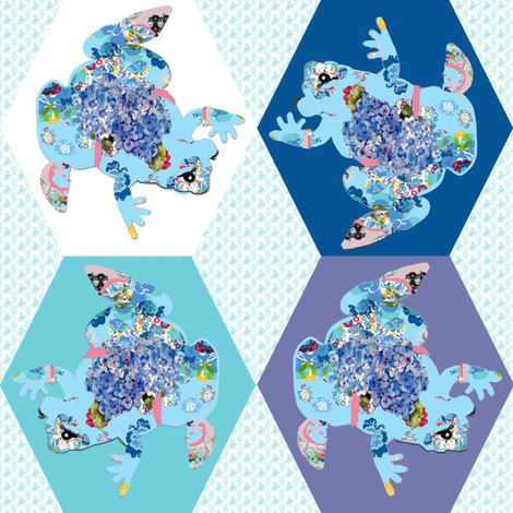 A Patchwork Frog fabric by karenharveycox on Spoonflower - custom fabric