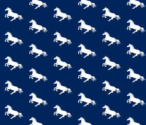 White Pony on Navy Diagonal fabric by thistleandfox on Spoonflower - custom fabric