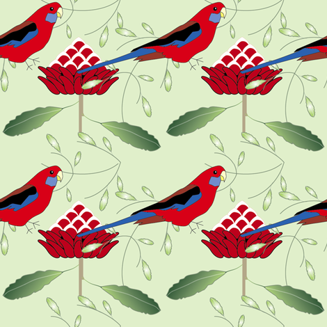 rosella and waratah - green fabric by fiona_sinclair_design on Spoonflower - custom fabric