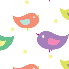 Baby birds with peas