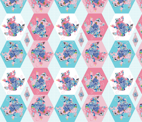 A Pink Patchwork Frog fabric by karenharveycox on Spoonflower - custom fabric