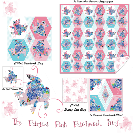 The Painted Pink Patchwork Frog Collection fabric by karenharveycox on Spoonflower - custom fabric