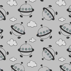Tumbling Space Ship - Grey