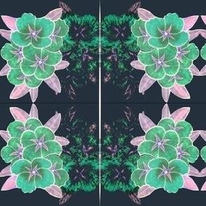 Aqua Flower  Shadows