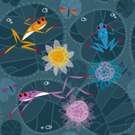FROGS AND WATER LILIES fabric by zapi on Spoonflower - custom fabric