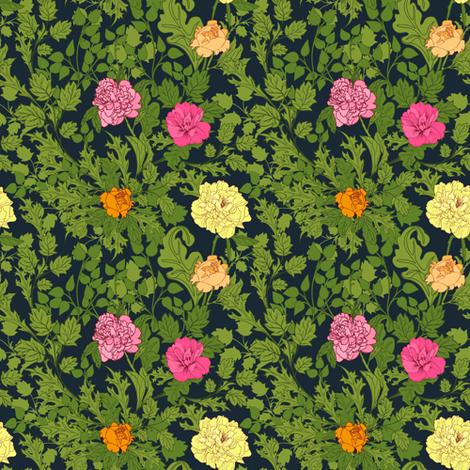 Peonies in dark background fabric by innaogando on Spoonflower - custom fabric