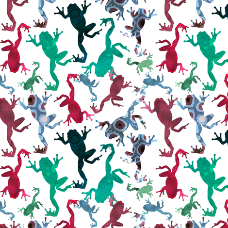 colorful watercolor frogs fabric by katarina on Spoonflower - custom fabric