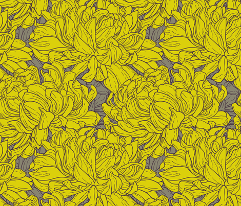 Tricolor seamless pattern with chrysanthemum   fabric by ievgeniia on Spoonflower - custom fabric