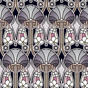 Art Deco abstract, pearl tones